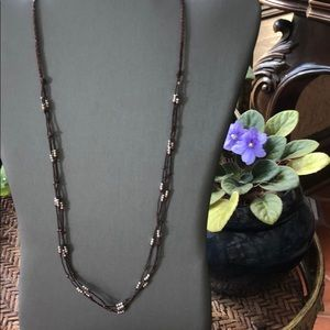Jewelry - Multi strand leather cord/silver bead necklace